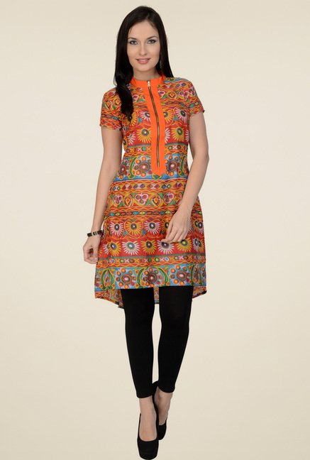 Pannkh Orange Regular Fit Cotton Kurti