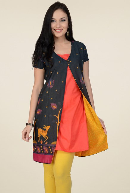 Pannkh Black & Pink Printed Regular Fit Kurti