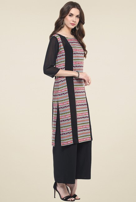 Pannkh Black Regular Fit Round Neck Kurti