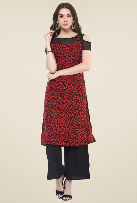 Pannkh Red & Black Regular Fit Printed Kurti