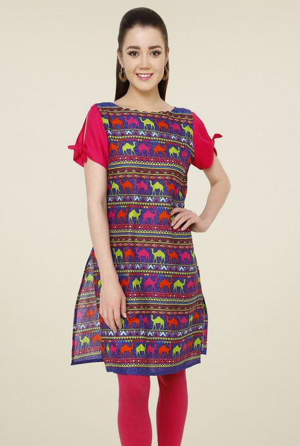 Pannkh Blue Boat Neck Cotton Kurti