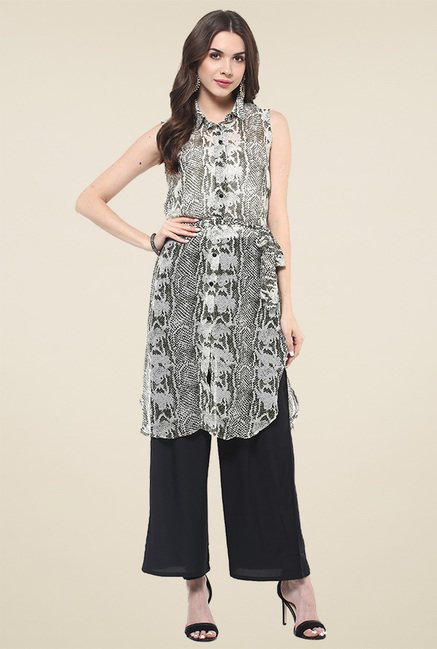 Pannkh Grey Sleeveless Kurti