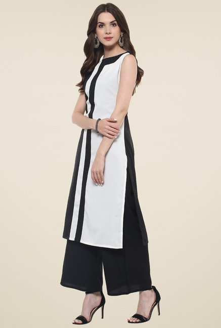 Pannkh Black & White Sleeveless Kurti