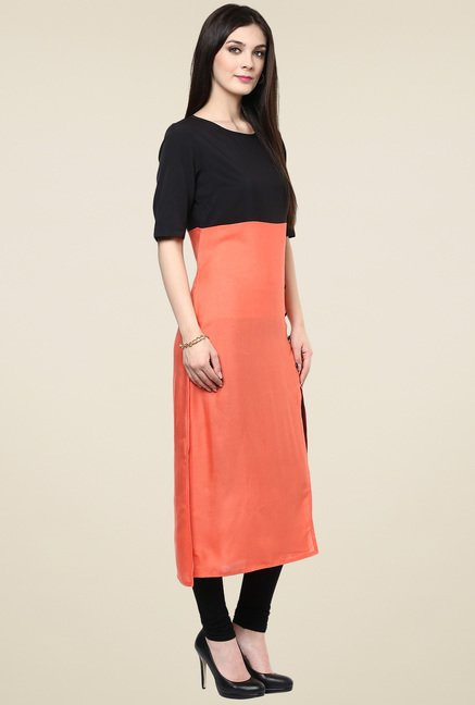 Pannkh Coral & Black Regular Fit Elbow Sleeves Kurti