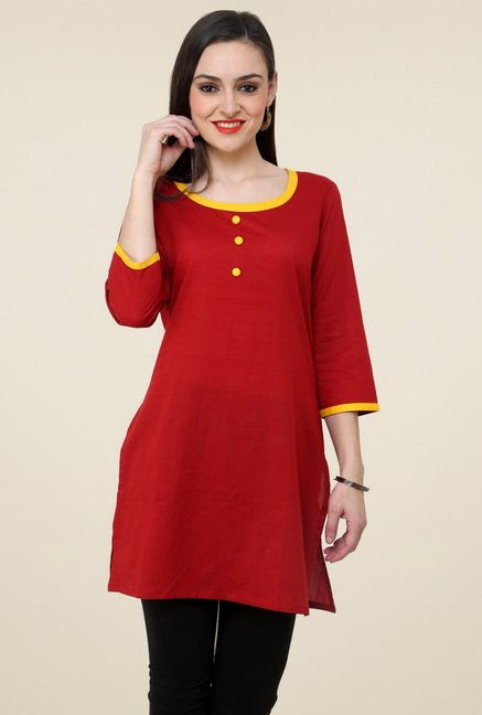 Pannkh Maroon Regular Fit Kurti