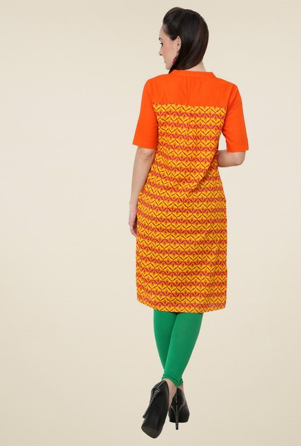 Pannkh Yellow Mandarin Collar Kurti