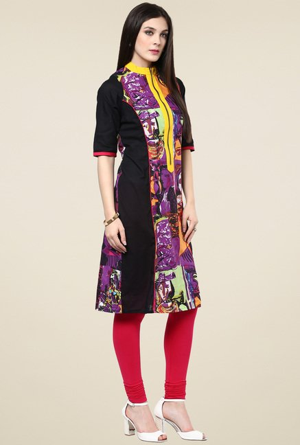 Pannkh Purple 3/4th Sleeves Printed Kurti