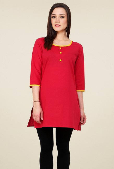 Pannkh Pink 3/4th Sleeves Front Buttoned Kurti