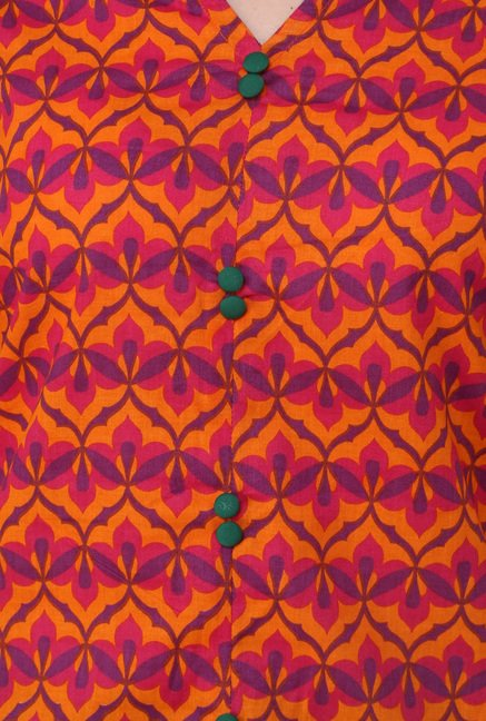 Pannkh Orange Printed Mandarin Collar Kurti