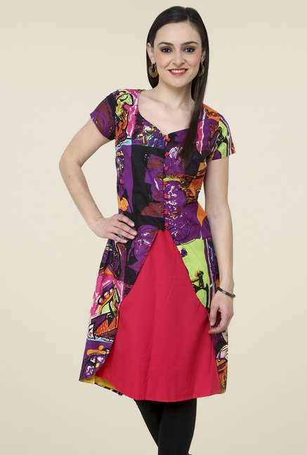 Pannkh Multicolor Short Sleeve Kurti