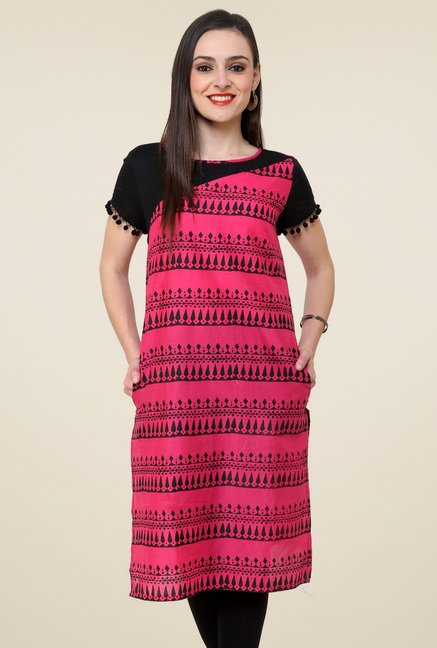 Pannkh Pink Regular Fit Printed Kurti