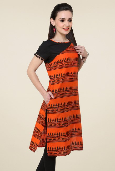 Pannkh Orange Half Sleeves Kurti