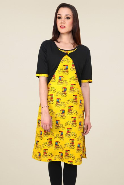 Pannkh Yellow Printed Jacket Kurti