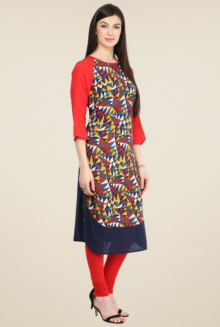 Pannkh Multicolor Short Sleeves Kurti
