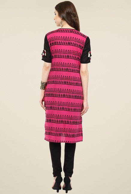 Pannkh Fuchsia & Black Printed Regular Fit Kurti
