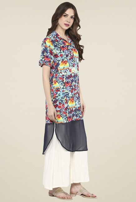 Pannkh Multicolor Half Sleeves Kurta