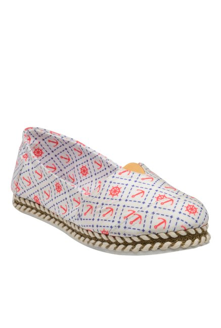 Nell White & Red Espadrilles