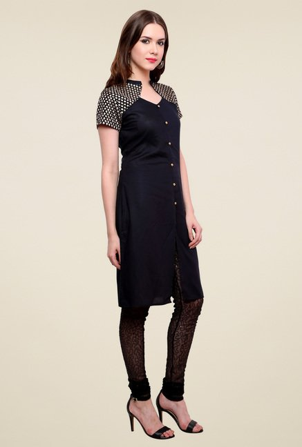Pannkh Black Short Sleeves Regular Fit Kurti