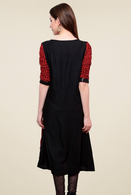 Pannkh Red & Black Boat Neck Kurti