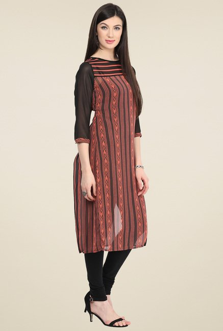Pannkh Black & Coral Regular Fit Kurti