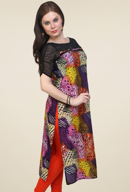Pannkh Multicolor Regular Fit Round Neck Kurti