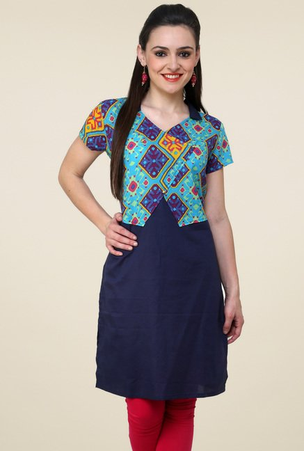 Pannkh Navy Regular Fit Printed Kurti