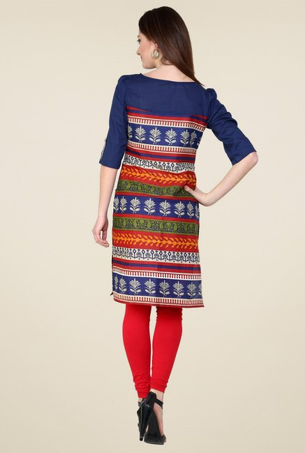 Pannkh Blue Round Neck Regular Fit Kurti