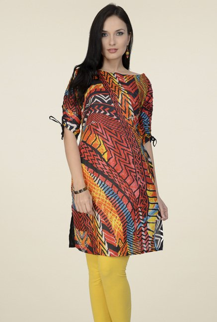 Pannkh Multicolor Round Neck Cotton Kurti