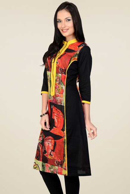 Pannkh Red & Black 3/4th Sleeves Kurti
