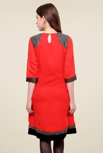 Pannkh Red Regular Fit Kurti