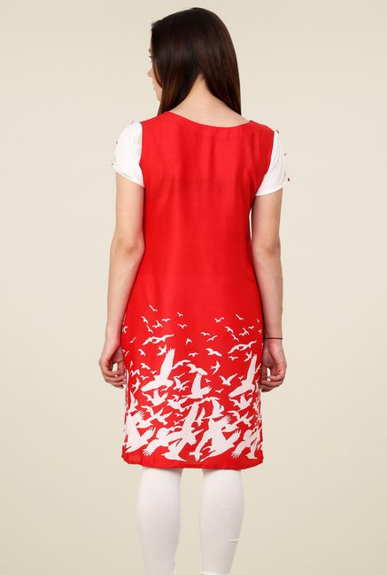 Pannkh Red Boat Neck Regular Fit Kurti