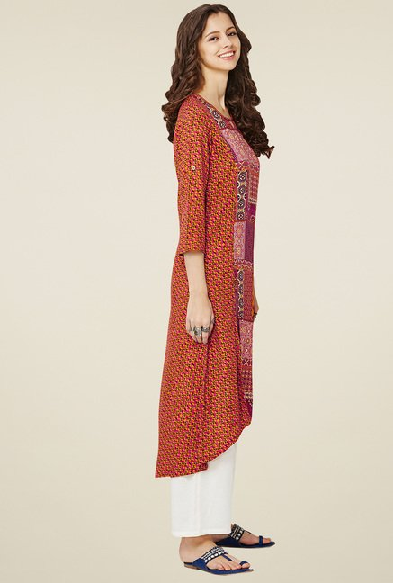 Global Desi Multicolor Round Neck Kurta