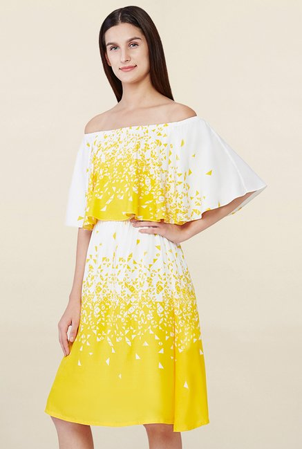 AND Yellow & White Printed Dress