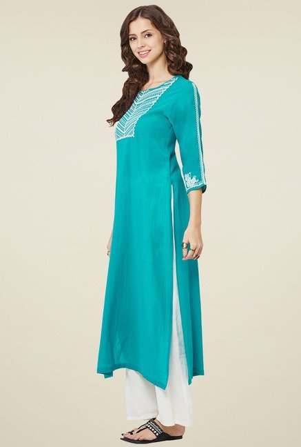 Global Desi Teal Embroidered Kurta