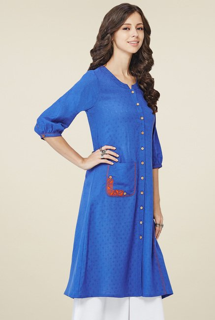 Global Desi Royal Blue Band Neck Kurta