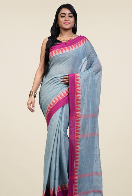 Bengal Handloom Grey Cotton Saree