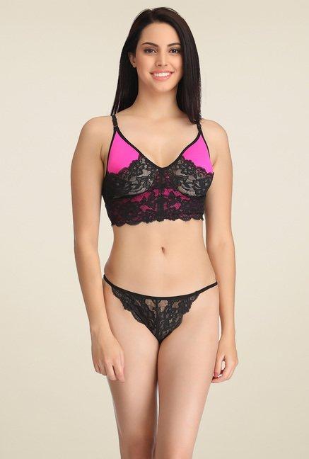 Buy Clovia Black   Pink Lace Lingerie Set for Women Online   Tata CLiQ 7abdcb0efd