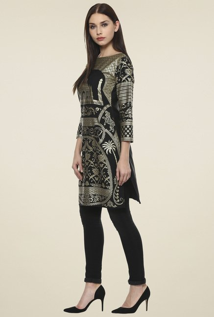 Ahalyaa Black & Gold Printed Regular Fit Kurti