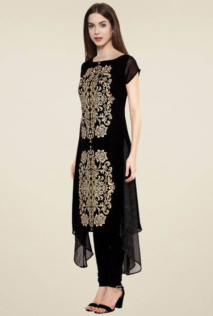 Ahalyaa Black & Gold Printed Cap Sleeves Kurti