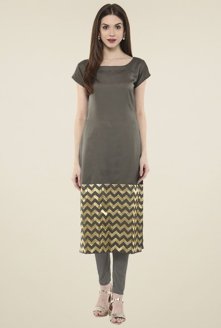 Ahalyaa Dark Beige & Gold Printed Regular Fit Kurti