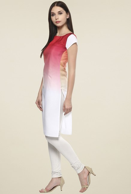 Ahalyaa White & Red Regular Fit Kurti