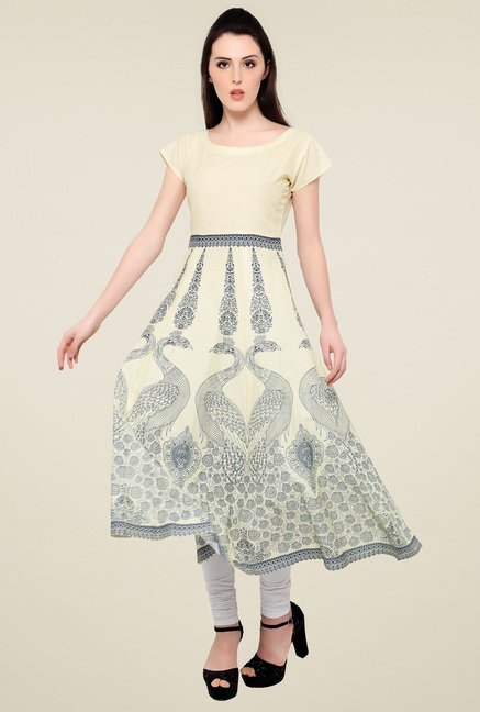 Ahalyaa Cream Printed Cotton Anarkali Kurti