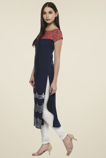 Ahalyaa Navy & Red Printed Kurti