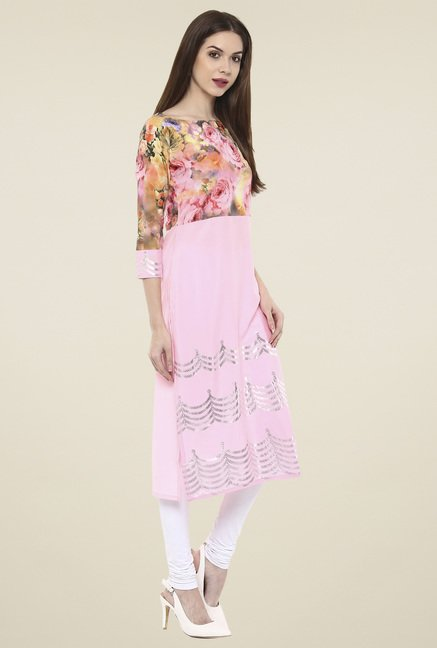 Ahalyaa Baby Pink 3/4th Sleeves Kurti
