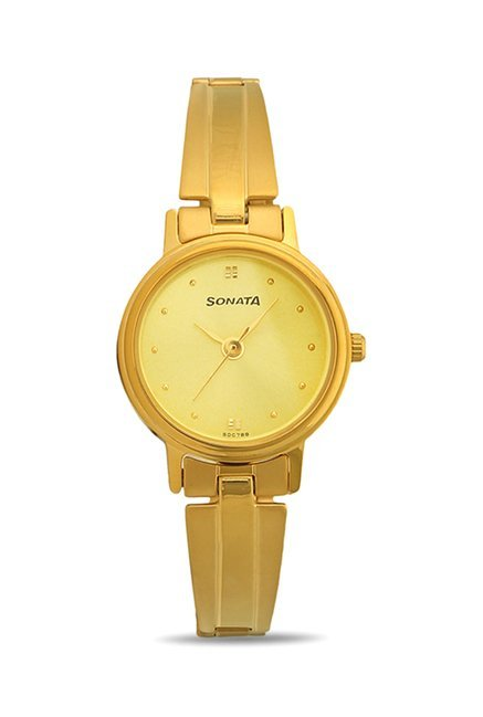Sonata 8096YM02C Analog Champagne Dial Women's Watch (8096YM02C)