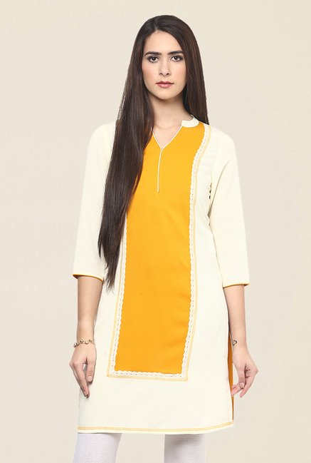 Fusion Beats Cream & Yellow Embroidered Kurti