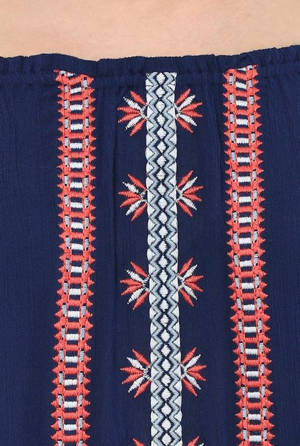 109 F Navy Embroidered Dress
