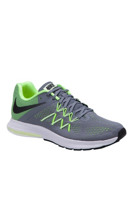 e82ad4f640fe Buy Nike Zoom Winflo 3 Grey   Green Running Shoes for Men at Best Price   Tata  CLiQ