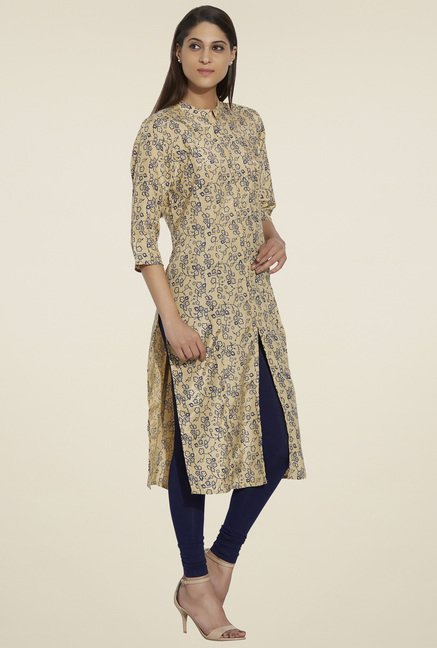 Globus Beige Printed Regular Fit Kurta