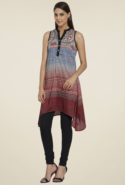 Globus Multicolor Printed Sleeveless Kurti